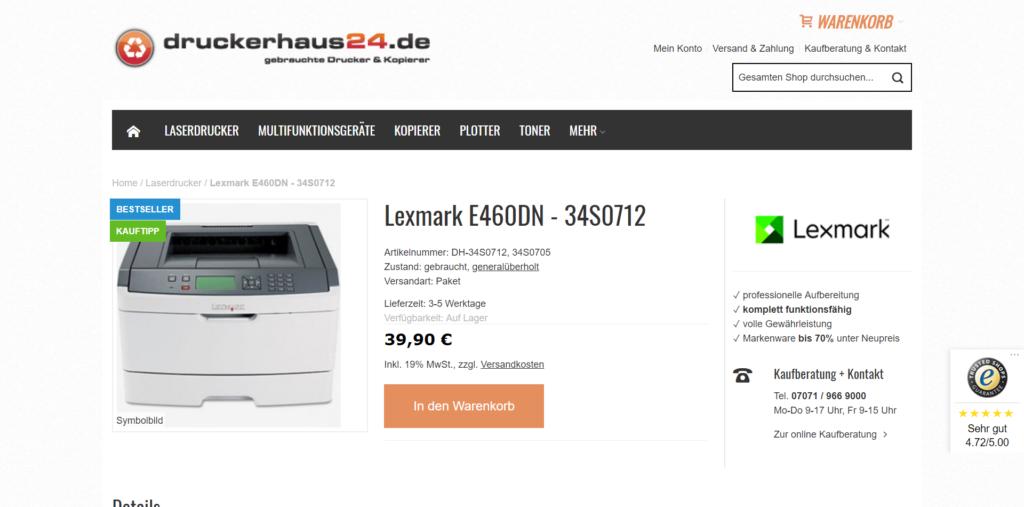 Webshop druckerhaus24 Produktdetailseite