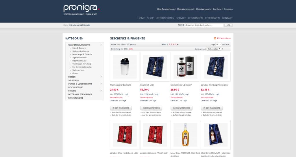 Shopansicht pronigra Produktübersicht